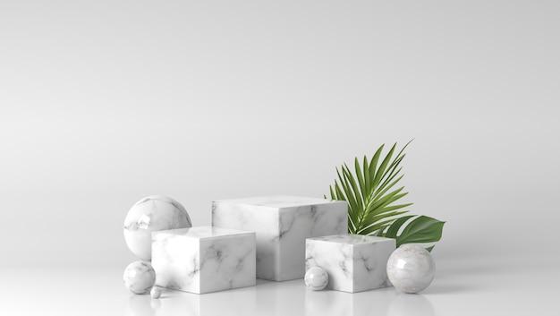 Vitrine podium en marbre blanc