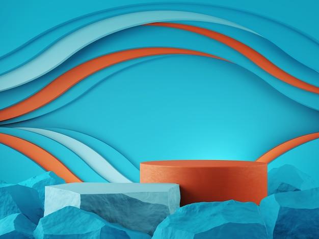 Vitrine de produit couleur orenge bleu pierre et toile de fond graphique courbe concept rendu 3d