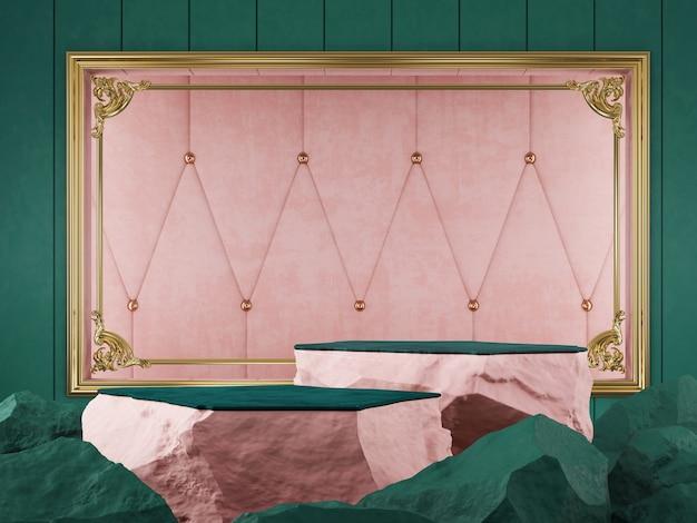 Vitrine de produit couleur vert et rose en pierre avec fond de cadre doré rendu 3d