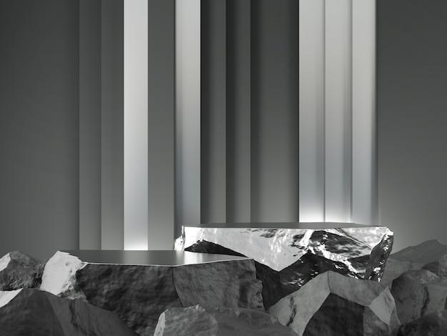 Vitrine de produit gris pierre argent et couleur avec concept de toile de fond de ligne verticale rendu 3d