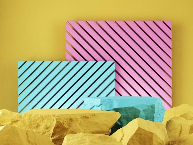 Vitrine de produit pierre jaune bleu rose toile de fond graphique rendu 3d