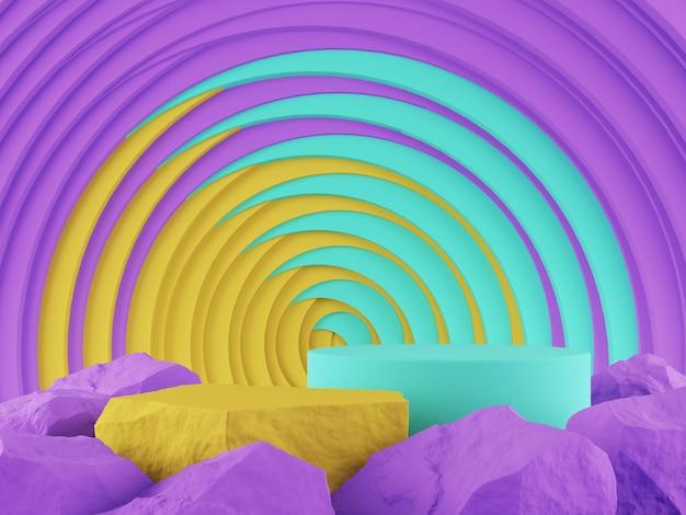 Vitrine produit pierre jaune bleu violet et abtact toile graphique concept rendu 3d