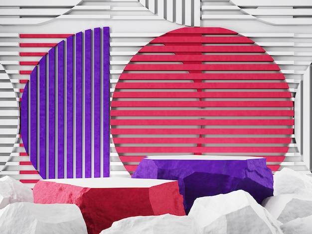 Vitrine de produits pierre blanche violette et rose toile de fond graphique rendu 3d