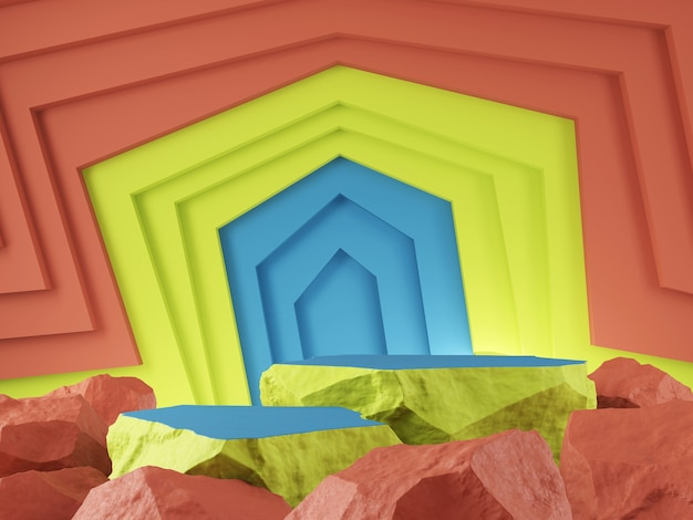 Vitrine de produits pierre orenge couleur bleu vert et concept de toile de fond graphique abtact rendu 3d