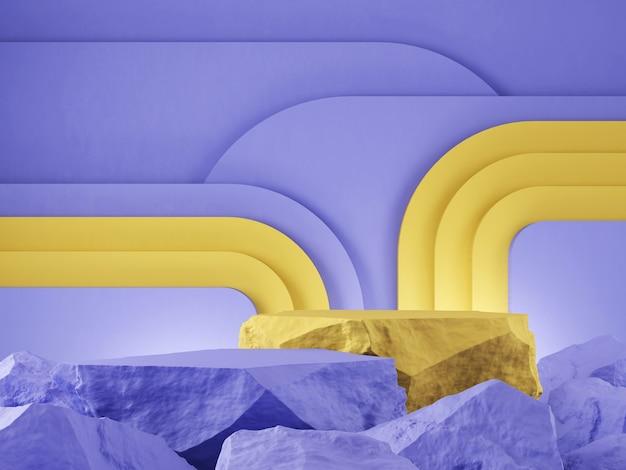 Vitrine de produits en pierre pourpre et jaune toile de fond graphique rendu 3d