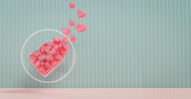 La vitrine de la saint-valentin est décorée avec une forme de conception d'amour et de géométrie. concept pour la saint-valentin et fond de mariage. rendu 3d.