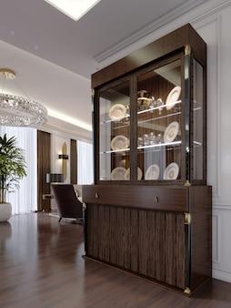 Vitrine avec vaisselle sur les étagères et éclairage de style classique moderne dans le salon. rendu 3d.