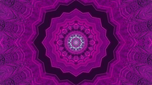 Vivid 3d illustration sci fi visuel abstrait du tunnel de transport magique avec design géométrique ornemental et éclairage violet néon