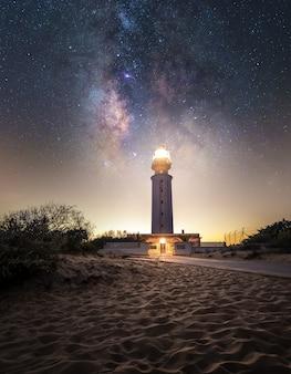Voie lactée centre sur un phare de la côte sud de l'espagne