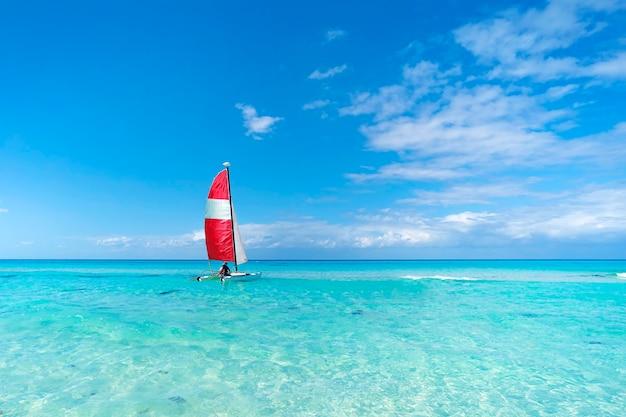 Un voilier transporte les touristes à travers la mer bleue par beau temps. bateaux à voile sur la magnifique plage cubaine de varadero. catamaran de tourisme. transports écologiques