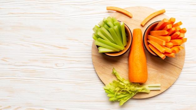 Voir ci-dessus des légumes sains
