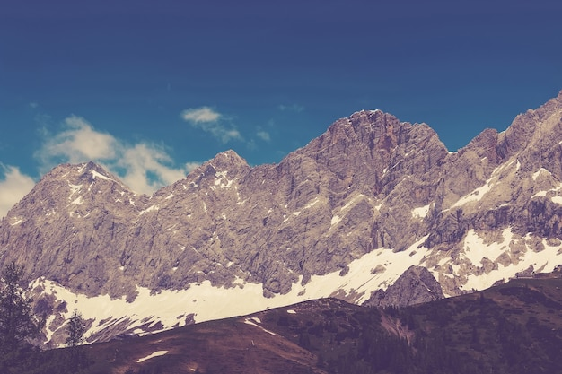 Voir les montagnes alpines en gros plan dans le parc national de dachstein, autriche, europe. ciel bleu et forêt verte en journée d'été