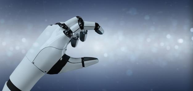 Voir le robot cyborg à la main - rendu 3d