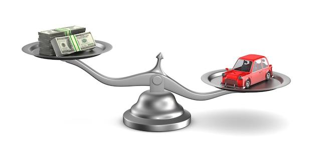 Voiture et argent à l'échelle sur blanc