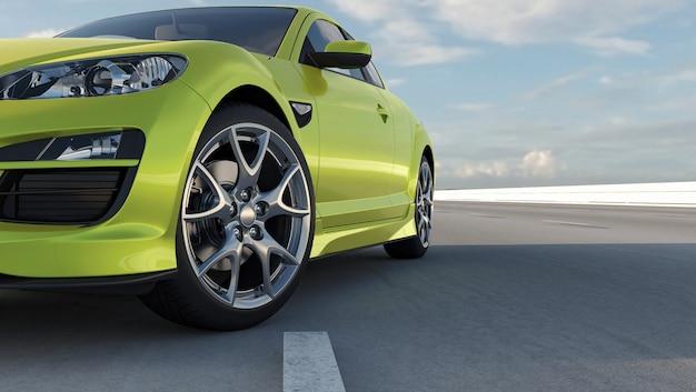 La voiture berline 3d vaut sur un rendu 3d routier. gros plan de roue