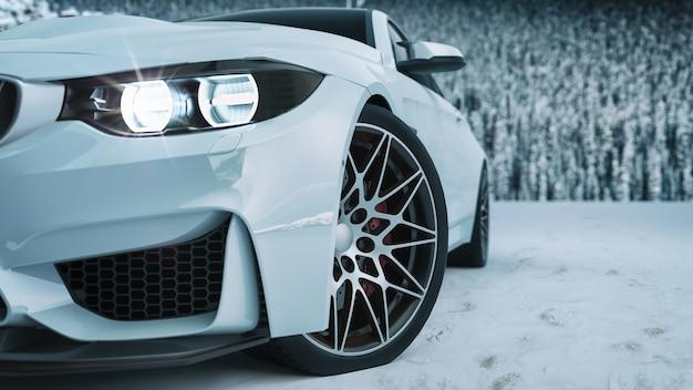 Voiture blanche dans la neige