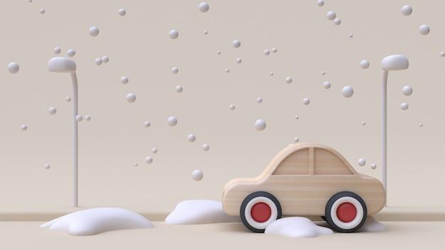 Voiture en bois abstrait dessin animé style hiver neige rendu 3d