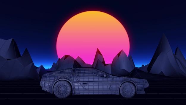 La voiture cyberpunk dans le style des années 80 se déplace sur un paysage de néons virtuels