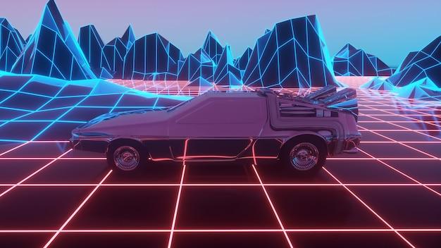 La voiture dans le style des années 80 se déplace sur un paysage néon virtuel
