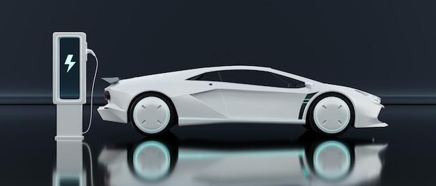 Voiture électrique de sport blanche de concept générique. concept de technologie futuriste automobile. rendu 3d