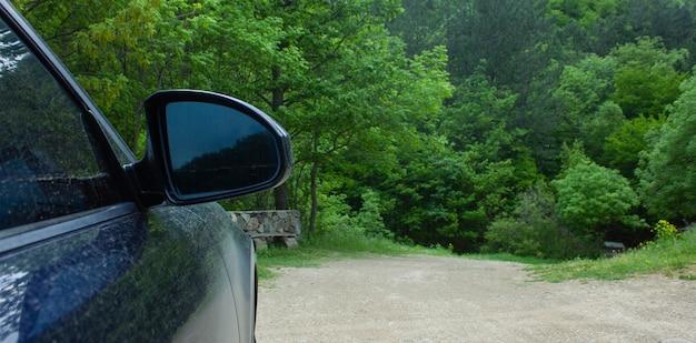 La voiture est debout à côté de la forêt
