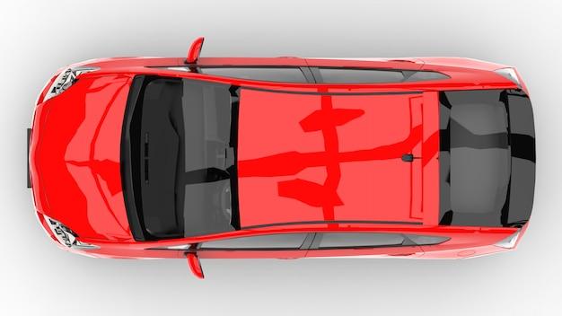 Voiture familiale hybride moderne rouge sur fond blanc avec une ombre au sol
