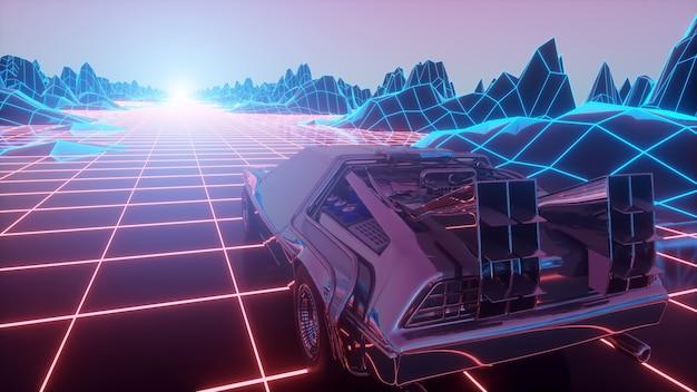 Voiture futuriste rétro dans le style des années 1980 se déplace sur un paysage de néon virtuel