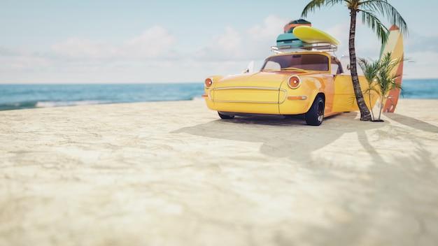 Voiture jaune classique garée au bord de la mer. rendu et illustration 3d.