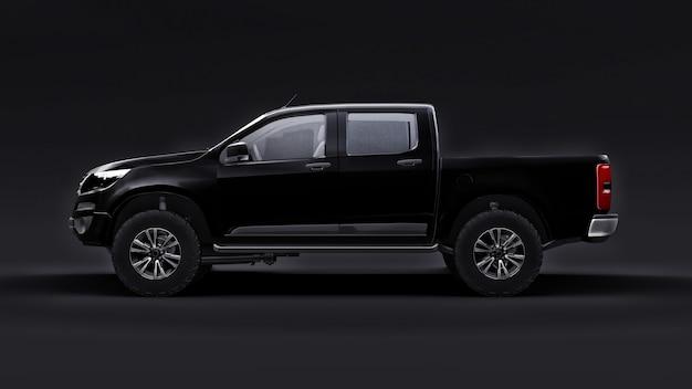 Voiture pick-up noire sur une surface noire
