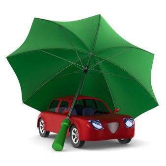 Voiture rouge et parapluie vert sur fond blanc. illustration 3d isolée