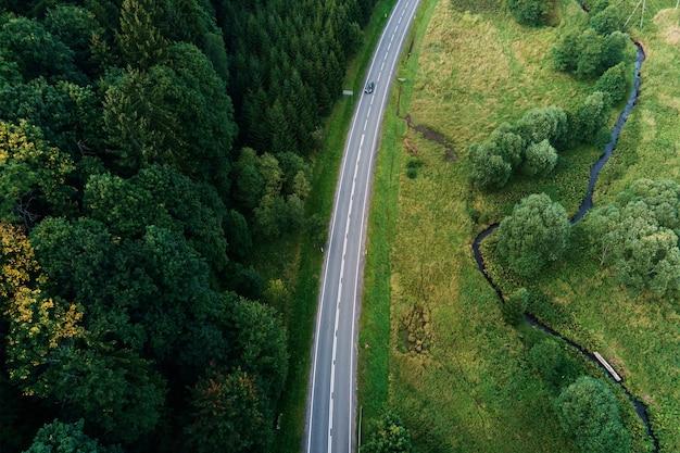 Voiture se déplaçant sur la route à travers la vue aérienne de la forêt de pins