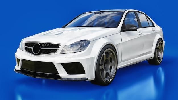 Voiture de sport blanche super rapide sur fond bleu. la silhouette de la berline. le réglage est une version d'une voiture familiale ordinaire. rendu 3d.