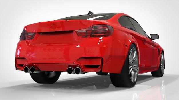 Voiture de sport rouge brillant dans le coupé. rendu 3d.