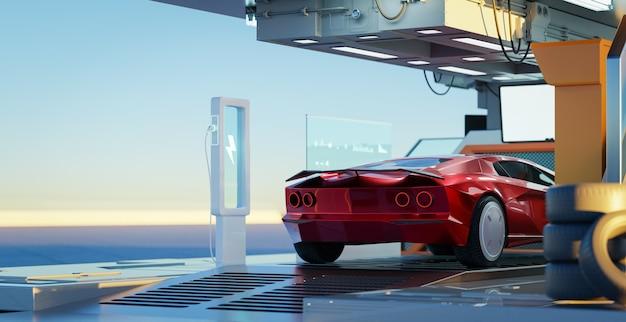 Voiture de sport rouge concept générique sans marque inexistante dans le garage futuriste. rendu 3d