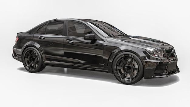 Voiture de sport super rapide couleur noire sur fond blanc. berline en forme de carrosserie. tuning est une version d'une voiture familiale ordinaire. rendu 3d.