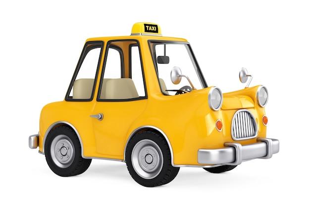 Voiture de taxi de dessin animé jaune sur fond blanc. rendu 3d