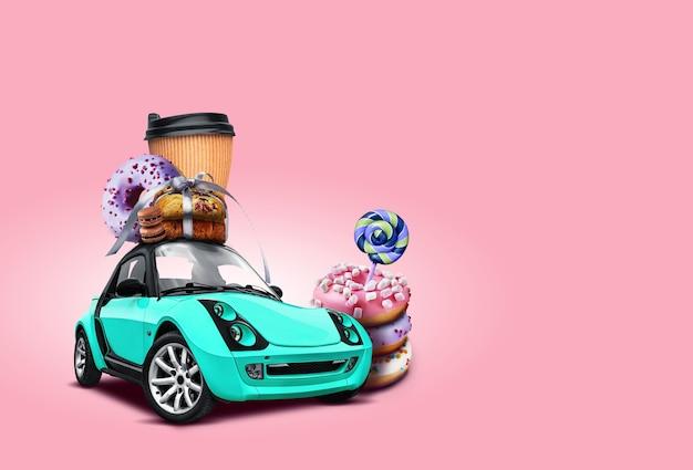 Voiture turquoise. des beignets, des cannes de bonbon, une tasse de café en papier, des biscuits noués avec du ruban, des macarons au chocolat sur le toit.