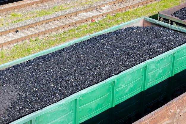 Voitures de charbon dans un train. réchauffement climatique. production d'énergie.