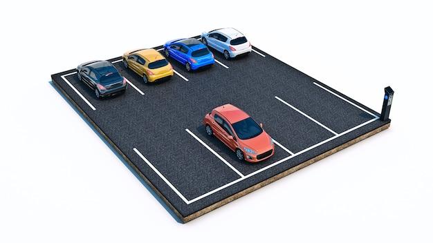 Voitures dans le stationnement rendu 3d