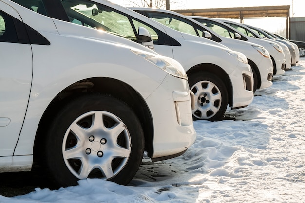 Voitures garées sur un terrain. rangée de voitures neuves sur le parking du concessionnaire automobile. thème du marché des voitures à vendre.