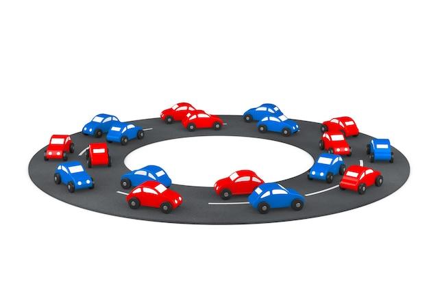 Voitures de jouet de dessin animé multicolore sur la route sur un fond blanc. rendu 3d