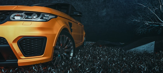 Des voitures modernes sont dans la salle de studio. illustration 3d et rendu 3d.