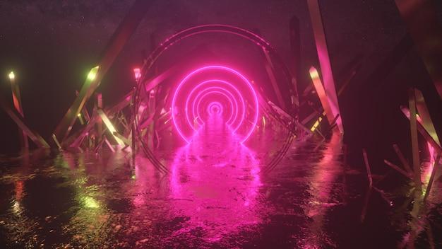 Vol abstrait, forme d'anneau de néon, paysage spatial mystérieux, vol vers l'avant à travers le couloir de cristaux