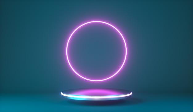 Vol à travers le cercle néon rose lumière mouvement podium de mode abstrait d rendu