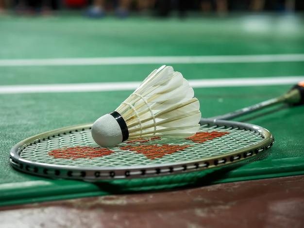 Volant de badminton blanc et raquette sur un terrain vert.
