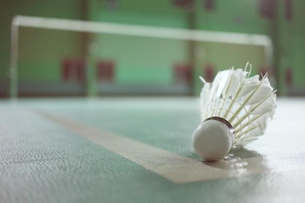 Volant de badminton sur cour verte