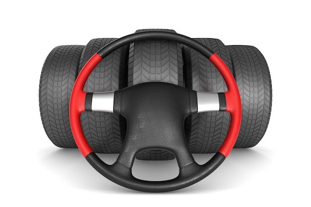 Volant et pneu sur espace blanc. illustration 3d isolée