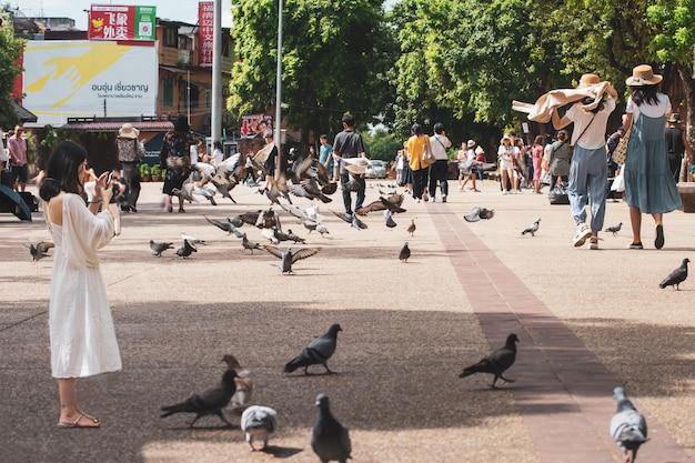 La volée d'oiseaux s'est souvenue pendant longtemps de s'envoler à la porte phae de la vieille ville de chiang mai, ancienne