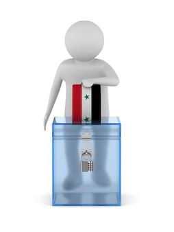Voter en syrie sur fond blanc. illustration 3d isolée