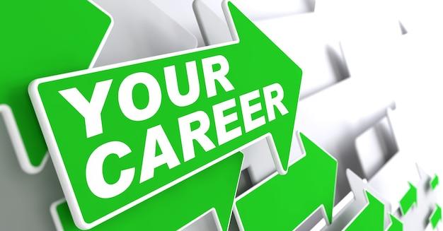 Votre concept de carrière. les flèches vertes sur un gris indiquent la direction.